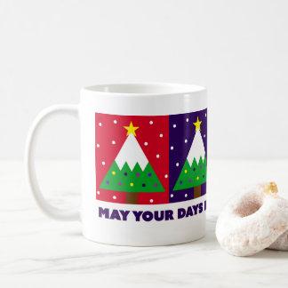 Skraj glad och ljus julgran kaffemugg