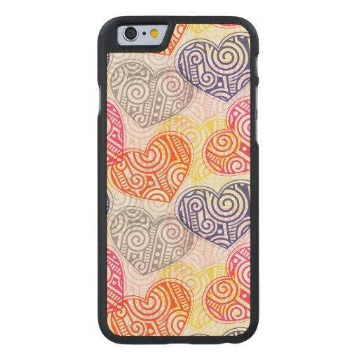 Skraj hjärtor carved® lönn iPhone 6 fodral