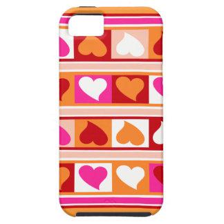 Skraj hjärtor och kvadrerar den röda   iPhone 5 skal