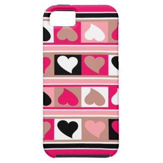 Skraj hjärtor och kvadrerar taupe för   iPhone 5 hud