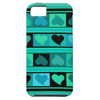 Skraj hjärtor och kvadrerar turkos för den   iPhone 5 hud