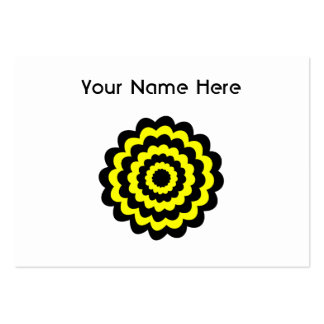 Skraj ljus gult- och svartflower. set av breda visitkort