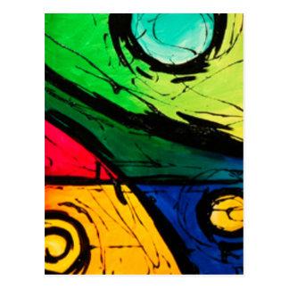 Skraj ljusa färger abstrakt konst vykort