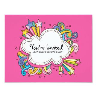 Skraj molnfödelsedaginbjudan 10,8 x 14 cm inbjudningskort