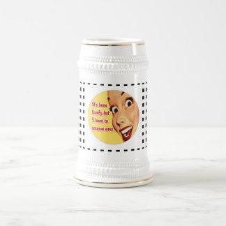 Skraj öl Stein för roligt Retro hemmafruSKRI Sejdel