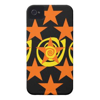 Skraj orange och svart stjärnor virvlar runt mönst Case-Mate iPhone 4 fodraler
