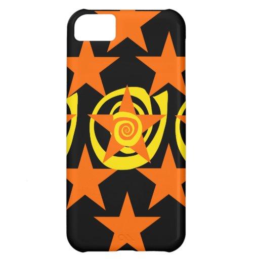 Skraj orange och svart stjärnor virvlar runt mönst iPhone 5C mobil fodral