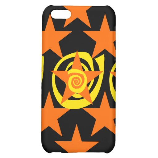 Skraj orange och svart stjärnor virvlar runt mönst iPhone 5C skal