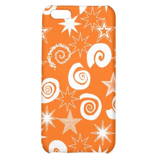 Skraj orange stjärnor och virvlar runt roliga möns iPhone 5C mobil skydd