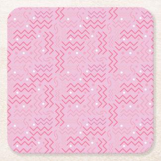 Skraj pastellfärgad rosa Memphis design Underlägg Papper Kvadrat