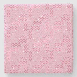 Skraj pastellfärgad rosa Memphis design Underlägg Sten