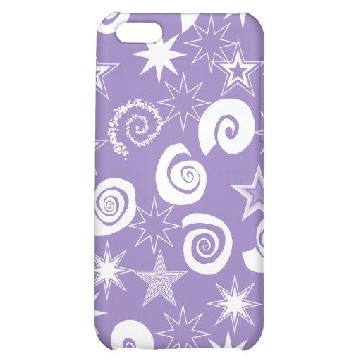 Skraj purpurfärgade stjärnor och virvlar runt roli iPhone 5C fodral