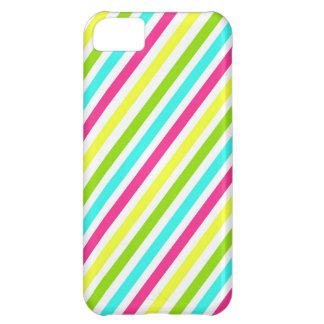 Skraj randar för gult för grönt för neonrosablått iPhone 5C mobil fodral