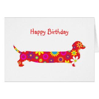 Skraj retro blom- födelsedag för tecknadtaxhund hälsningskort