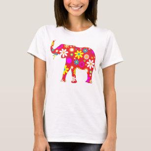 Skraj retro blom- roliga kvinna för elefant t-shirt