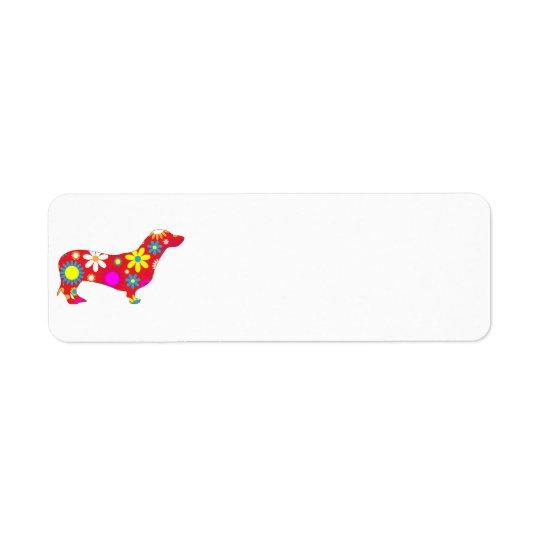 Skraj retro blom- taxhundanpassningsbar returadress etikett