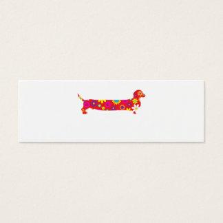 Skraj retro blom- tom tecknadtaxhund litet visitkort