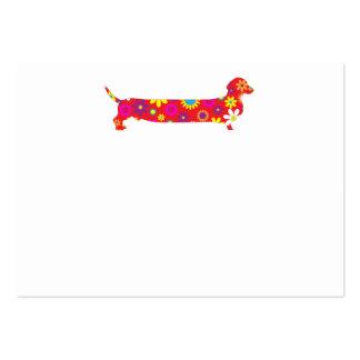 Skraj retro blom- tom tecknadtaxhund set av breda visitkort