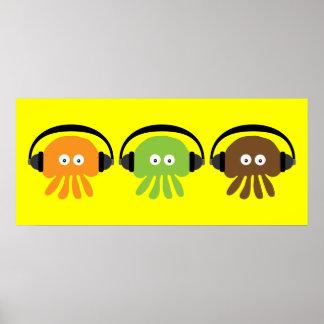 Skraj Retro DJ-manet med beställnings- hörlurar Poster