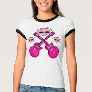 Skraj rosa gitarrer & döskallar t shirt