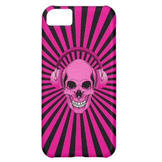 Skraj rosa skalle med hörlurar iPhone 5C fodral