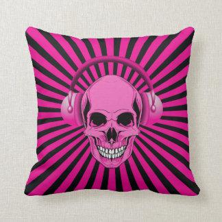 Skraj rosa skalle med hörlurar prydnadskuddar