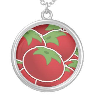 Skraj tomat silverpläterat halsband