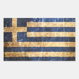 Skrapad och ha på sig grekisk flagga för vintage retangel klistermärke
