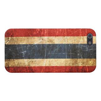 Skrapad och ha på sig thailändsk flagga för vintag iPhone 5 skal