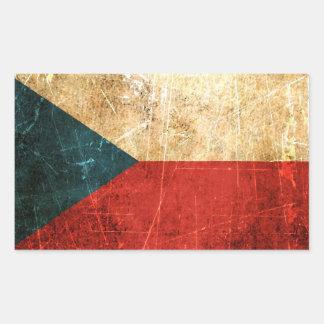 Skrapad och ha på sig tjeckisk republikflagga för rektangulärt klistermärke