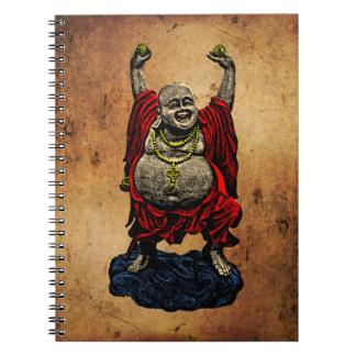 Skratta Buddha (färg 4, papper bakgrund för Anteckningsbok Med Spiral