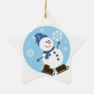 Skridskoåkningsnögubbeprydnad Julgransprydnad Keramik