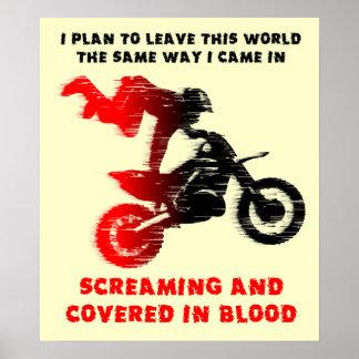 Skrikig affisch för tryck för Motocross för