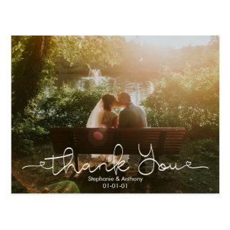 Skriva kortet för tack för klotterfotobröllop vykort
