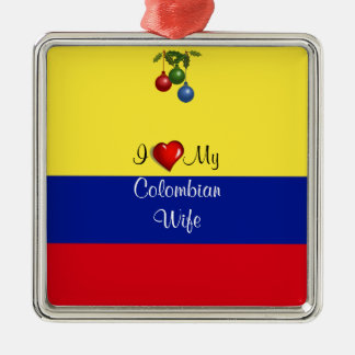 """Skriva text, """"mig älskar min colombianska fru julgransprydnad metall"""