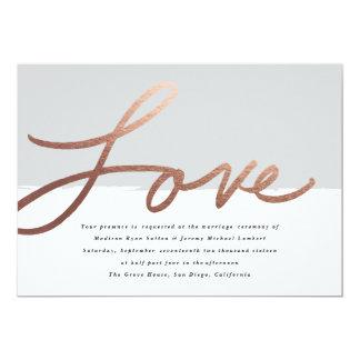 Skrivad kärlek som gifta sig fauxen, omkullkastar 12,7 x 17,8 cm inbjudningskort