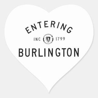 Skrivande in Burlington Hjärtformat Klistermärke
