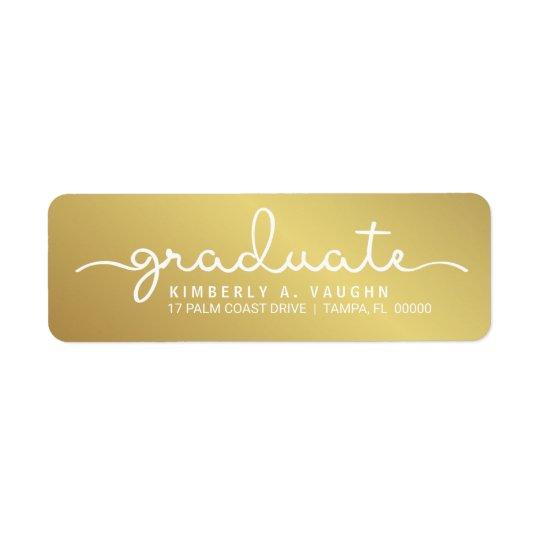 Skrivar handskriven guld- Shimmer för studenten Returadress Etikett