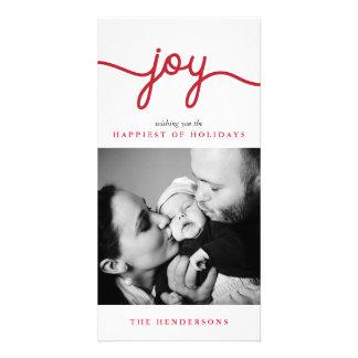 Skrivar röda moderna för glädje julfotokortet fotokort