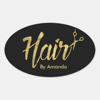 Skrivar Scissor modernt guld för hårstylisten & Ovalt Klistermärke