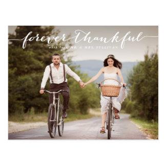 Skrivar tacksam | vit för för evigt brölloptack vykort
