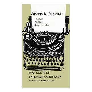 Skrivmaskinsförfattareredaktören klickar set av standard visitkort