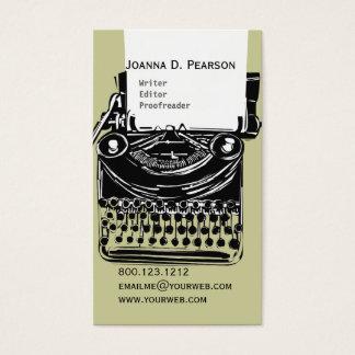Skrivmaskinsförfattareredaktören klickar visitkort