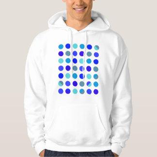 Skuggar av blåttpolka dots tröja med luva