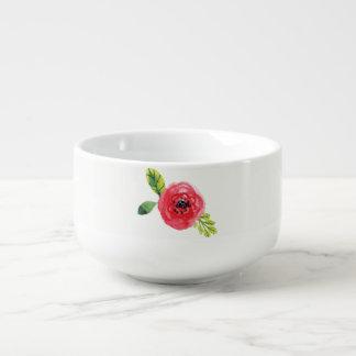 Skuggar av den rosor målade soppabunken för blomma soppmugg