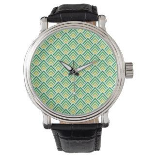 Skuggar av grönt elegantt lutningmönster armbandsur