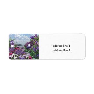 skuggar av lilor returadress etikett