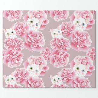 Skuggar av rosa katt- och ropapper presentpapper