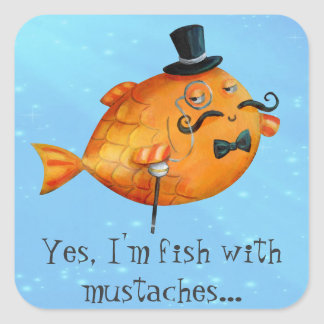 Skum Mustached fisk för herr Fyrkantigt Klistermärke