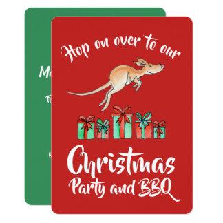 Skutt för julpartykänguru över inbjudningar